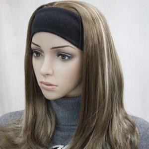 Pruik met hoofdband/haarband, lang, kleur mixed bruin met blonde pukken