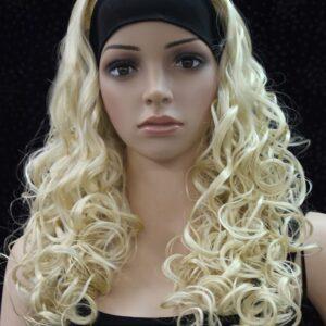Pruik met hoofdband/haarband, lang krullend, blond.