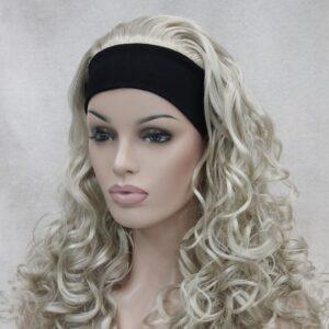 Pruik met hoofdband/haarband, lang krullend, AS blond