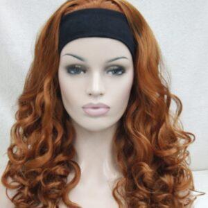 Pruik met hoofdband/haarband, lang krullend, Rood.
