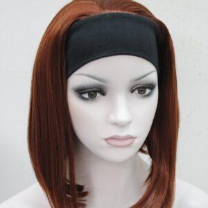 Pruik met hoofdband/haarband, Half lang, ROOD – hoogblond